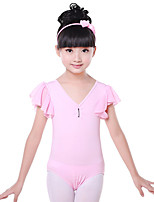 Children's Training Chiffon / Cotton / Pleated / Ruffles 1 Piece Short Sleeve Natural Leotard  Kid's Dance Costumes