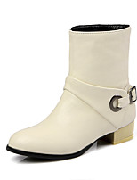 Women's Shoes Fall / Winter Fashion Boots / Round Toe Boots Dress Chunky Heel Buckle Black / Beige