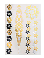 1pc Flash Tattoo Metallic Gold Silver Temporary Sexy Flower Bracelet Waterproof Tattoo Sticker YH-120