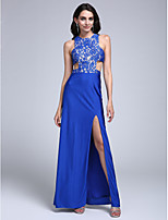 TS Couture® Formal Evening Dress Sheath / Column Jewel Floor-length Lace / Jersey with Lace / Split Front