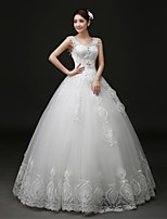 Ball Gown Wedding Dress Floor-length V-neck Lace / Tulle with Appliques / Beading / Lace