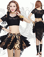 Belly Dance Outfits Women's Training Polyester Lace 2 Pieces Belly Dance Short Sleeve Natural Top / Skirt