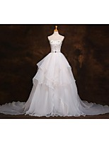 A-line Wedding Dress Court Train Sweetheart Organza with Beading