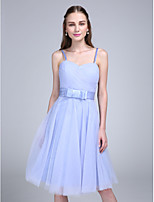 Lanting Bride Knee-length Tulle Bridesmaid Dress A-line Spaghetti Straps with Bow(s) / Criss Cross