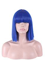 droite de couleur bleu vif avec une frange hari coupé perruques synthétiques courtes pour femmes style cosplay