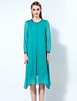 Boutique S Women's Going out Sophisticated Loose Dress,Solid Round Neck Asymmetrical Long Sleeve Blue Linen