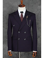 Suits Slim Notch Double Breasted Two-buttons Polyester Stripes 2 Pieces Purple Straight Flapped  Black