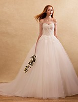 Ball Gown Wedding Dress Court Train Off-the-shoulder Tulle with Appliques