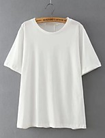Women's Casual/Daily Sexy Summer T-shirt,Solid Round Neck Short Sleeve White Cotton / Linen Thin