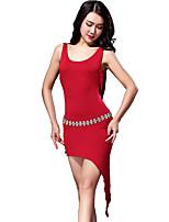 Belly Dance Leotards Women's Performance Modal Sash/Ribbon 2 Pieces  Burgundy Belly Dance Sleeveless NaturalBelt