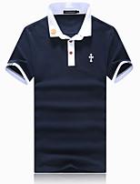 Men's Fashion Slim Cross Pattern Short Sleeve Polo Shirt,Cotton / Spandex Casual Print