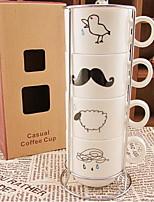 las gotas de lluvia conjunto taza de café retro (cuatro tazas de cerámica con encimera)
