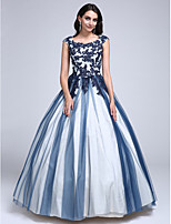 Prom Dress Ball Gown Scoop Floor-length Lace / Tulle with Appliques / Beading
