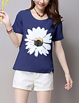 Women's Print Blue / White / Orange Blouse,Round Neck Short Sleeve