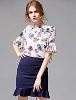AFOLD® Women's Round Neck Short Sleeve Shirt & Blouse Purple-5660