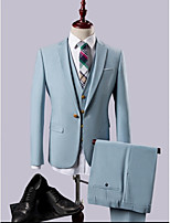 Light Blue   One-button Polyester/Rayon(T/R) Three-Pieces  Straight Flapped  Slim Fit Suits