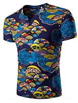 Camiseta De los hombres Estampado-Casual-Algodón / Espándex-Manga Corta-Azul / Rojo