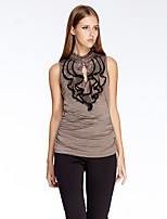 Women's Going out Simple Summer T-shirt,Solid Crew Neck Sleeveless Red / Brown Polyester / Spandex Thin