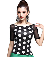 Latin Dance Tops Women's Training Rayon Polka Dots 1 Piece Black / Polka Dots Latin Dance Half Sleeve Natural