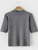 Women's Casual/Daily Simple Pullover,Solid Black / Brown / Gray / Green Round Neck Short Sleeve Cotton Spring / Fall Medium