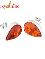 Newest Forward Unique Fire Waterdrop Amber Gem 925 Silver Stud Earrings For Wedding Party Daily Holiday 1Pairs