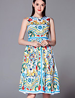 Boutique S Going out Sophisticated Sheath Dress,Print Round Neck Knee-length Short Sleeve Blue Polyester Summer