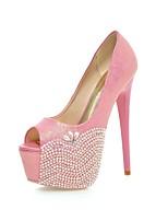 damskor läder stilett häl / peep toe / plattform sandaler bröllop / parti&aftonklänning