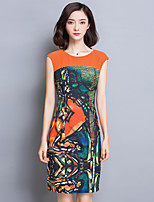 Women's Casual/Daily Sophisticated Bodycon Dress,Print Round Neck Above Knee Sleeveless Yellow Rayon Summer