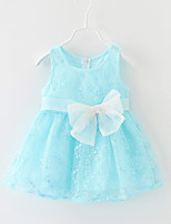 Baby Casual/Daily Solid Dress,Cotton / Polyester Summer Blue / Pink / Purple / Yellow