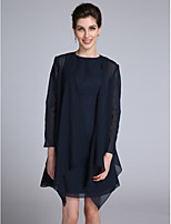 A-line Mother of the Bride Dress Short / Mini Long Sleeve Chiffon with