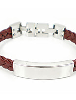 Fashion 316L Stainless Steel Clasp Weave Leather Bracelets Adjustable Length 1pc