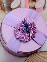 10 Piece/Set Favor Holder-Cylinder Metal Ribbons Flowers Purple Wedding Favor Boxes Candy Boxes
