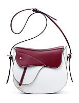 Women-Casual-Cowhide-Shoulder Bag-Blue / Red