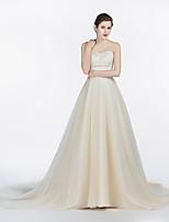 A-라인 웨딩 드레스 코트 트레인 끈없는 스타일 새틴 / 튤 와 레이스
