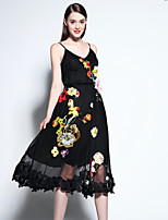 Boutique S Women's Going out Sophisticated Swing Dress,Embroidered Strap Midi Sleeveless Black Polyester Summer