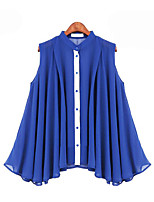Women's Casual/Daily Street chic Summer Blouse,Solid Stand Short Sleeve Blue Polyester Medium