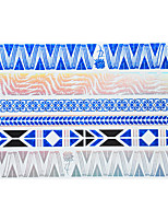 1pc Flash Metallic Waterproof Tattoo Blue Gold Silver Rose Wave Bracelet Temporary Tattoo Sticker BYH-001