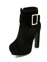 Women's Boots Fall / Winter Heels / Round Toe Fleece Office & Career / Casual Chunky Heel Buckle Black