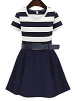 Women's Simple / Street chic Color Block Striped Slim Hin Thin Plus Size / Sheath Dress,Round Neck Above Knee