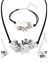 European Style Fashion Simple Metal Dog Necklace Bracelet Earring Set