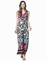 Women's Plus Size Boho Sheath Dress,Print V Neck Maxi Sleeveless White Cotton / Polyester Summer