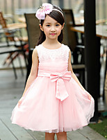Girl's Casual/Daily Solid Dress,Cotton / Polyester All Seasons Pink