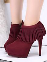 Women's Boots Fall / Winter Combat Boots PU Outdoor Stiletto Heel Zipper Black / Blue / Red / Gray / Burgundy