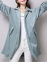 Women's Casual/Daily Simple Trench Coat,Solid Notch Lapel ¾ Sleeve Summer Blue / White / Green Cotton Thin