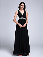 Formal Evening Dress A-line V-neck Floor-length Chiffon with Beading / Side Draping