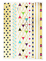 1pc Gold Silver Flash Metallic Waterproof Tattoo Arrow Necklace Snow Temporary Tattoo Sticker YH-052