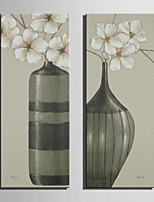 E-HOME® Stretched Canvas Art Elegant Flowers In A Vase Decoration Painting  Set Of 2