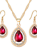 Water Drops Crystal Alloy With Rhinestone Earrings Necklace Set Women's Wedding Jewelry Bridesmaids Gifts