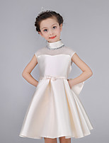 A-line Knee-length Flower Girl Dress-Cotton / Satin Sleeveless