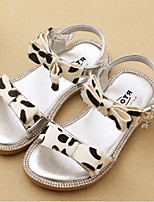 Girls' Shoes Casual Horse Hair Sandals Summer Comfort / Open Toe Flat Heel Bowknot Yellow / White